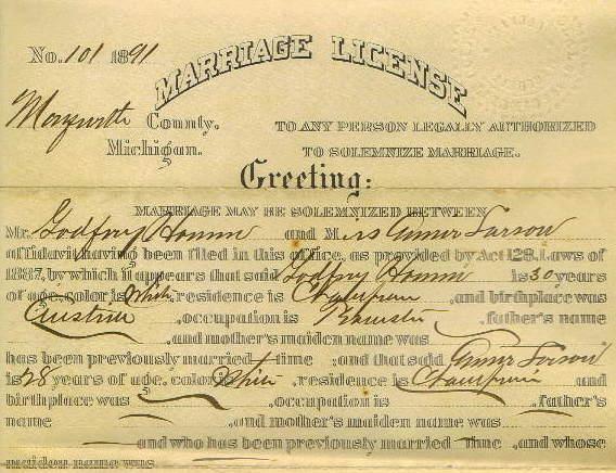 Gottfried Hann's 1891 Marriage License