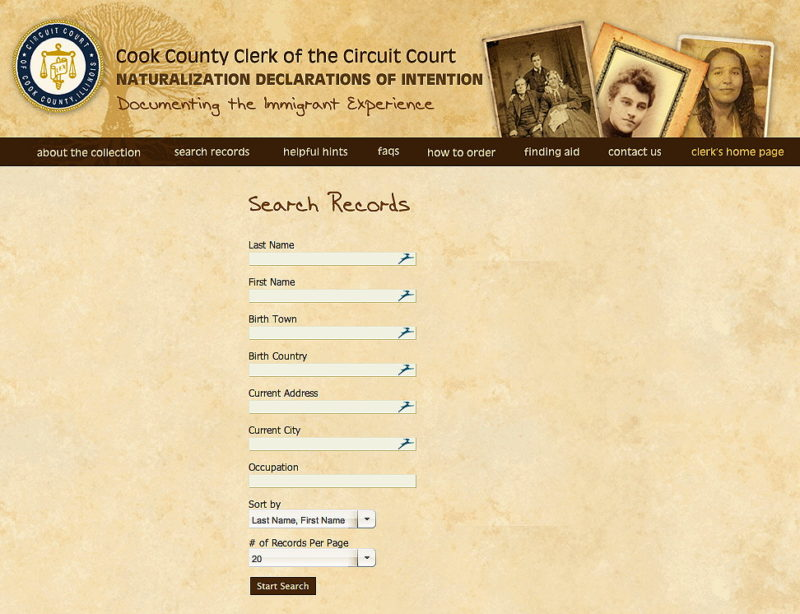 Cook County Illinois Naturalization Index Online