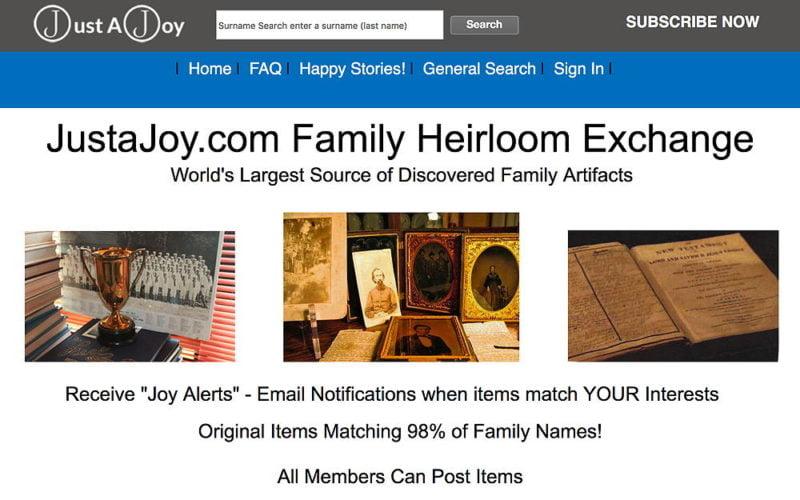 JustaJoy.com Family Heirloom Exchange
