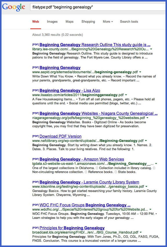 google search trick sassy jane genealogy