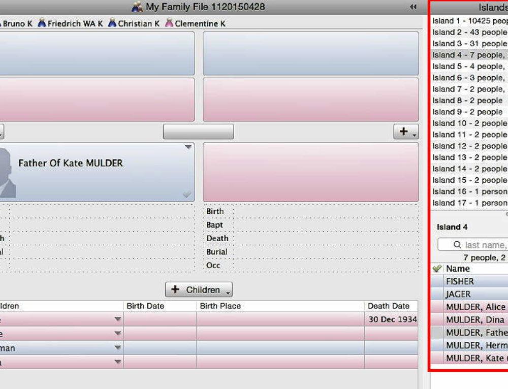Islands in Reunion 11 Genealogy Software