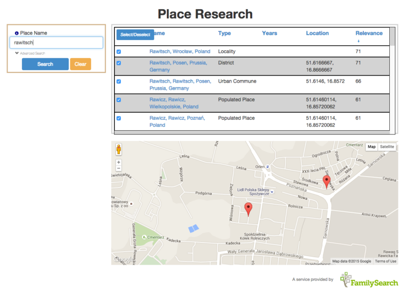 Place Research Tool for Genealogy Research