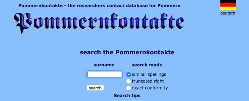 Pommernkontakte genealogy database