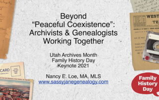 Family History Day Utah Archives Month archivists and genealogists working together